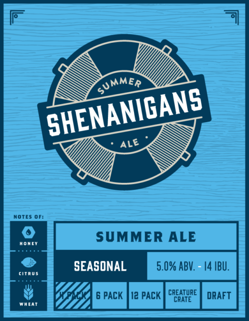 shenanigans summer ale indeed brewing company